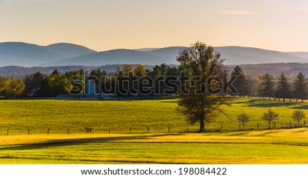 View of farm fields and distant mountains from Longstreet Observation Tower in Gettysburg, Pennsylvania.
