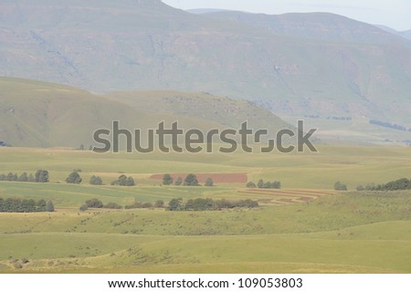 View of farmlands on the  Naude's Nek route into Rhodes, Eastern cape, South Africa