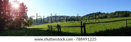 View of fences for horses, countryside, beautiful summer weather. #788491225