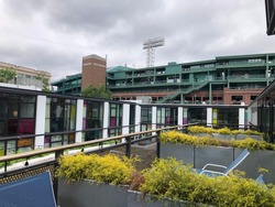 View of Fenway Park in Boston seen from a rooftop garden