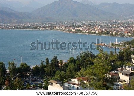 View of Fethiye - city in the Aegean region of Turkey.