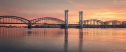 View of Finland Railway Bridge at sunrise spring morning, Saint Petersburg, Russia.