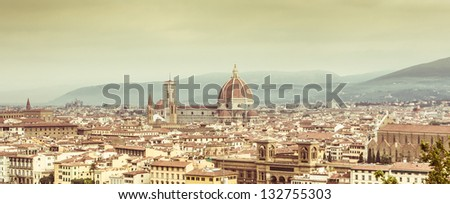 View of Firenze Skyline with vintage colors. Italy.