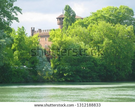 View of Fiume Po meaning River Po in Turin, Italy