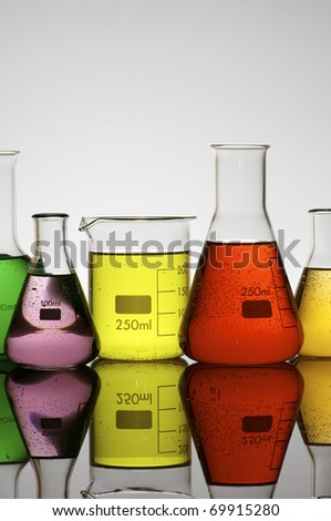 view of flasks  for laboratory measurement of  liquids