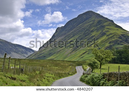 View of Fleetwith Pike in the English Lake District from the road to Buttermere