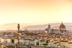 View of Florence after sunset from Piazzale Michelangelo.Panorama city skyline of Florence. Tuscany, Italy