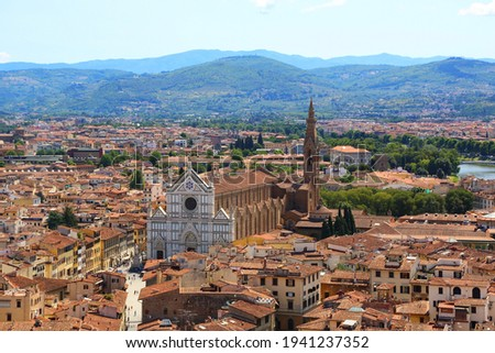 View of Florence and the basilica of Santa Croce. Italy Stock photo ©