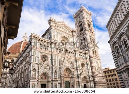 View of Florence Cathedral  Duomo - Basilica di Santa Maria del Fiore , Campanile of Giotto. Italy Stock photo ©