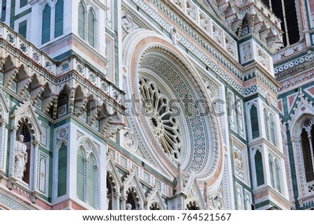 View of Florence Cathedral with Giotto bell tower, Italy. Italian landmark #764521567