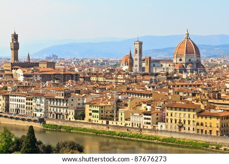 View of Florence / Firenze with duomo, Tuscany, Italy