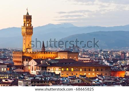 View of Florence, Palazzo della Signoria from Piazzale Michelangelo.