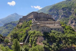View of Fort Bard, Aosta Valley in Italy