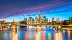 View of Frankfurt city skyline in Germany at sunset