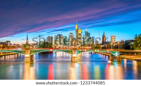 View of Frankfurt city skyline in Germany at sunset #1233744085