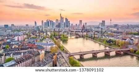 View of Frankfurt city skyline in Germany at twilight from top view