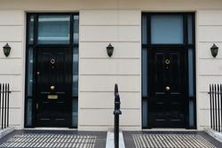 View of Front Doors of Neighbouring Georgian Era London Town Houses