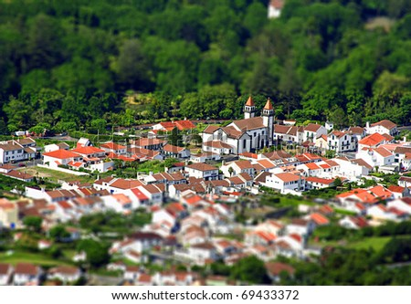 View of Furnas: a little village in the Azores with tilt shift lens effect