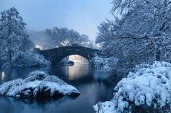 view of Gapstow bridge during winter, Central Park New York City . USA