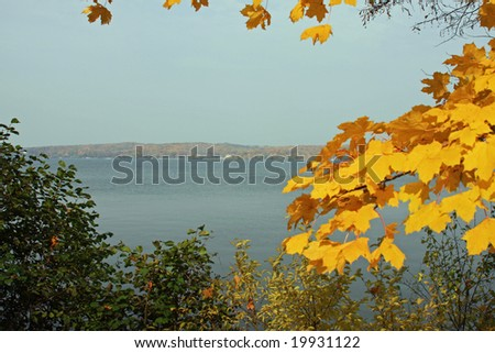 View of Geneva Lake in the fall, in Wisconsin