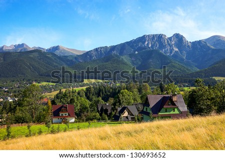 View of Giewont mountain from Gubalowka - Zakopane, Poland.