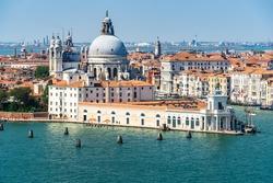 View of Giudecca Canal in Venice from the bell tower of San Giorgio Maggiore, with Punta della Dogana and the cupolas of Santa Maria della Salute