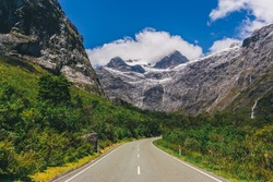 View of glacier before Homer tunnel on Milford Sound Highway, Fiordland national park, South Island, New Zealand.