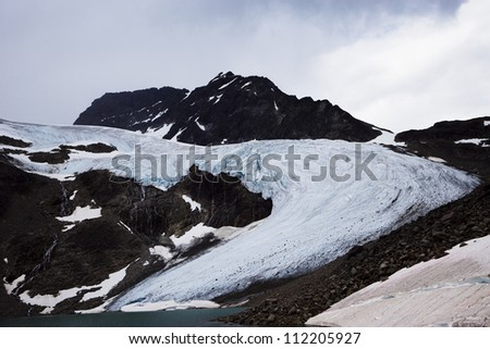 View of glacier on mountain