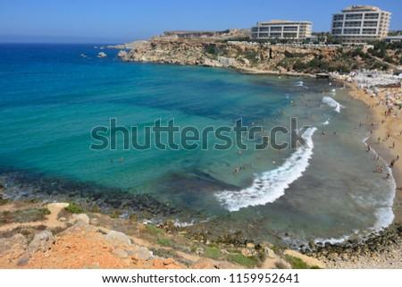 View of Golden Bay beach in Malta #1159952641