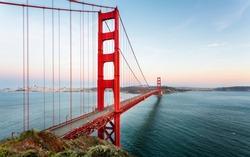 View of Golden Gate Bridge from Golden Gate Bridge Vista Point at sunset, San Francisco, California, USA, North America