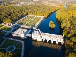 View of gorgeous medieval castle Chateau de Chenonceau on river Loire, France