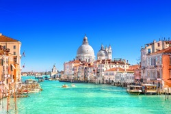 View of Grand Canal and Basilica Santa Maria della Salute in Venice