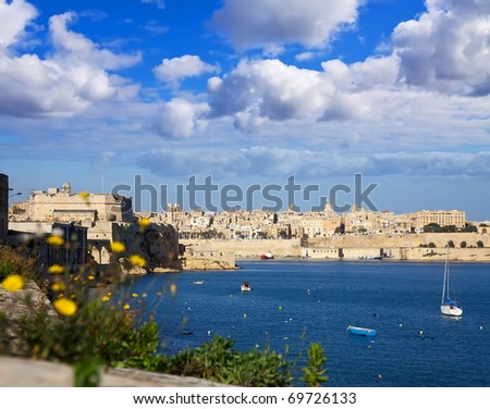 View of Grand Harbour and Valletta from Vittoriosa, Malta