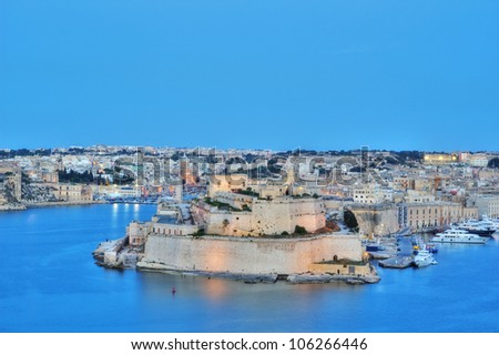 View Of Grand Harbour, Valletta, Malta, during early evening.