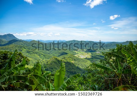 View of green mountain inland of Hainan Island in China