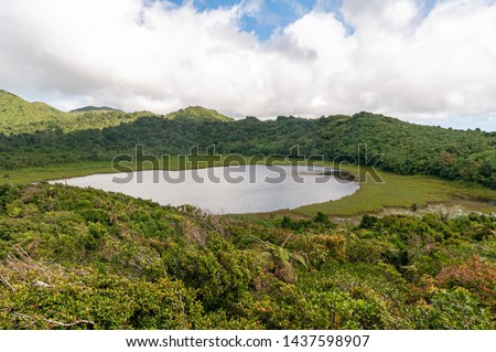 View of Grenada island - Grand Etang National Park - Grand Etang Lake - Tropical caribbean island Foto stock ©