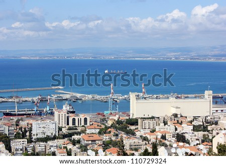 view of Haifa city, ships were at anchor in the waters of the port of Haifa, Israel, Mediterranean sea