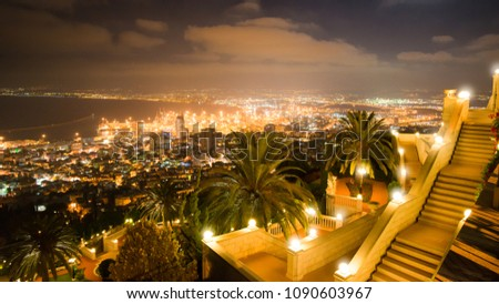 View of Haifa from the famous Bahai Gardens at night.
