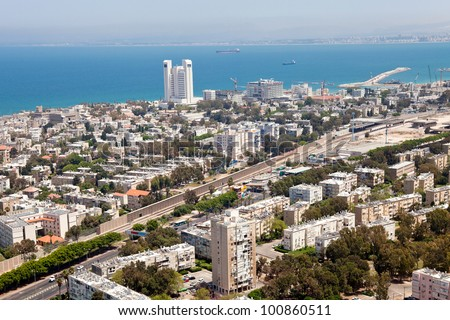 View of Haifal town, Israel - aerial view