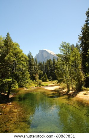 view of half dome in the summer form the Merced river
