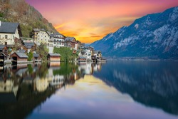 View of Hallstatt village from the lakeside with twilight sky in Austria