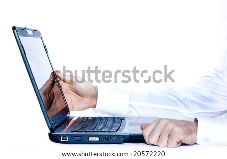View of hands playing with  laptop on white background