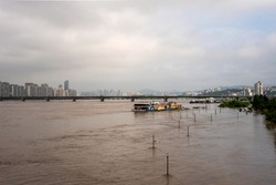 View of Hangang river. river is overflowing. (Yeouido Hangang Park)