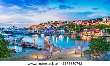 View of harbor and village Porto Cervo, Sardinia island, Italy Stockfoto ©