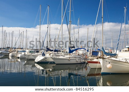 View of harbor with recreational boats, Majorca, Balearic Islands, Spain