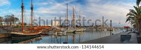 View of harbour with yachts in Barcelona - stock photo