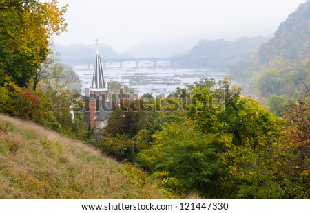 view of Harpers Ferry National Historical Park from Jefferson Rock
