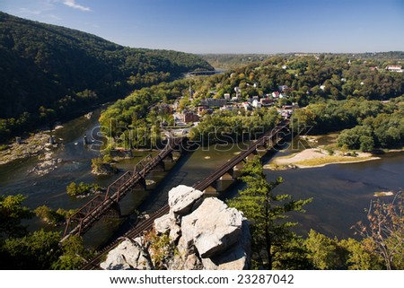 View of Harpers Ferry, West Virginia, USA from the Maryland side.