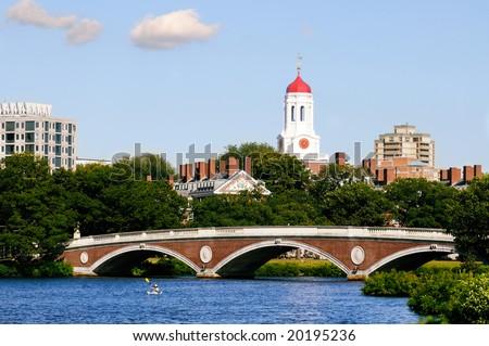 View of Harvard University and pedestrian bridge on Charles River, Cambridge, Massachusetts