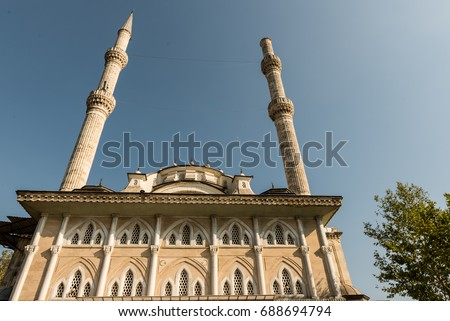 View of Haydarpasa Cami (Haydarpasha mosque).Its minaret collapsed after the hurricane on 27th July 2017 disaster in Istanbul,Turkey.